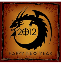 Black dragon 2012 new year card vector