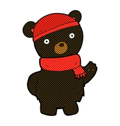 Comic cartoon black bear in winter hat and scarf vector