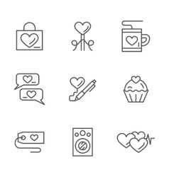 Romantic greetings flat line icons set vector