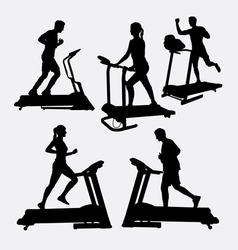 Treadmill sport training silhouette vector