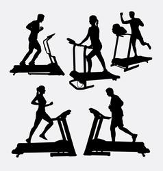 Treadmill sport training silhouette vector image