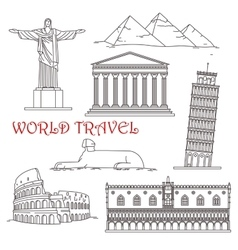 Travel landmarks of italy brazil greece africa vector