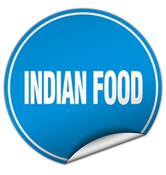 Indian food round blue sticker isolated on white vector