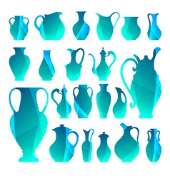 Silhouettes of vases isolated crockery digital vector
