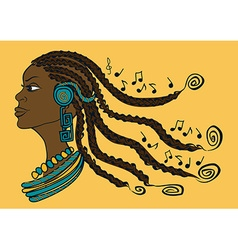 Portrait of african girl with dreadlocks vector