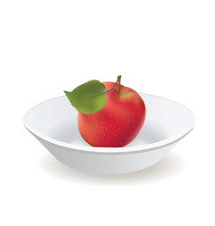 apple is red with a leaf on a white plate vector image vector image