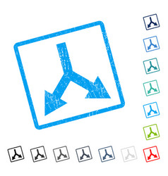 Bifurcation arrow down icon rubber watermark vector