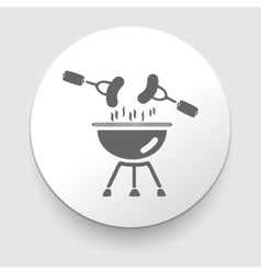 black barbecue icon on gray vector image
