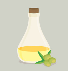 bottle of olive oil and branch flat vector image