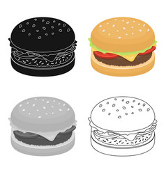 Burger with cutlet and slabom bar food with beer vector