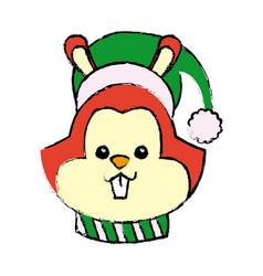 Christmas squirrel animal scarf hat decoration vector