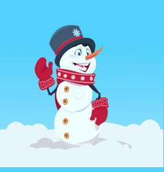cute snowman wearing hat and scarf happy smiling vector image