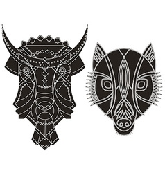 decorated bull wolf heads vector image
