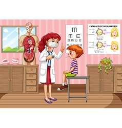 Doctor checking up boy health in clinic vector