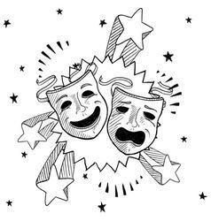 doodle pop drama masks vector image vector image