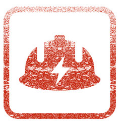 Electrician helmet framed textured icon vector