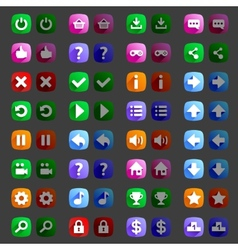 Flat style game icons buttons icons interface vector image vector image