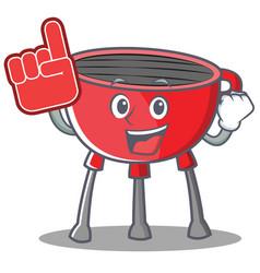 Foam finger barbecue grill cartoon character vector
