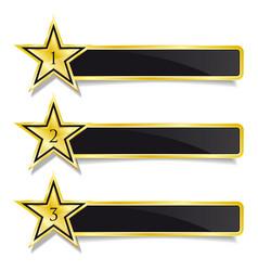 golden banner stars step by step design vector image vector image
