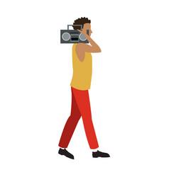 guy walking listen music stereo radio vector image