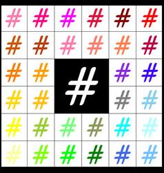 Hashtag sign felt-pen 33 vector