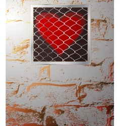 heart behind bars vector image vector image