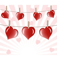 hearts on ropes vector image vector image