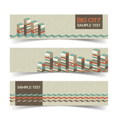 Horizontal architectural banners set vector