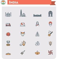 India travel icon set vector