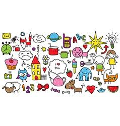 kids doodle vector image vector image