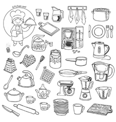 Kitchen utensils and appliances icons set vector image