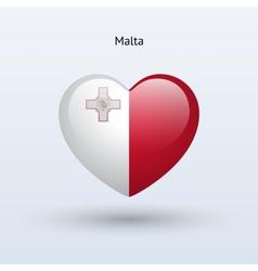 Love malta symbol heart flag icon vector