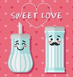 Loving couple of sugar bowl vector