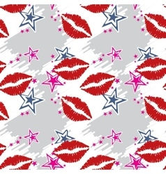Seamless pattern red lips with stars vector