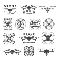set labels with different of drones vector image