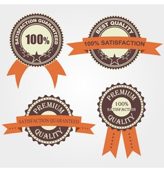 Set of quality labels with retro vintage design vector image