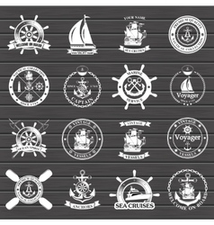 Set of vintage nautical labels icons and design vector image vector image