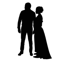 Silhouette of a young guy and a girl in a long vector