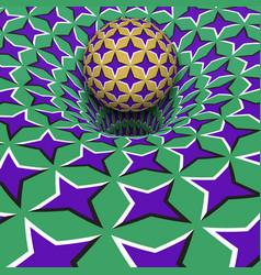 Sphere above purple stars hole optical motion vector