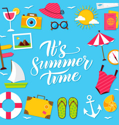 Summer time lettering postcard vector