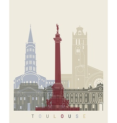 Toulouse skyline poster vector image vector image