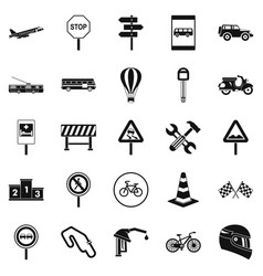 Traffic jam icons set simple style vector