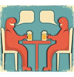 Two men drinking vector