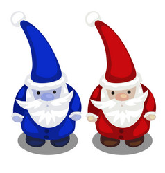 two santa claus in a red and blue suit isolated vector image vector image