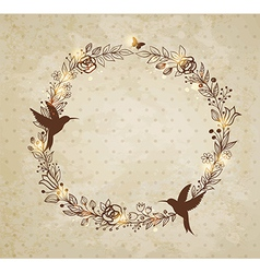 vintage hand drawn wreath of flowers vector image