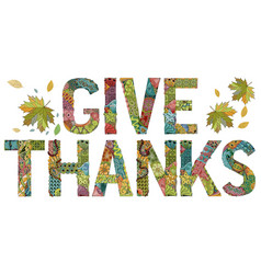 Words give thanks with falling leaves vector