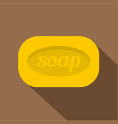 Yellow soap bar icon flat style vector