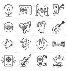 Thin lines music icons set Punk rock band guitar vector image