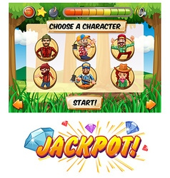 Slot game template with lumber jack characters vector