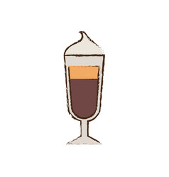 Glass cup coffee espresso cream vector